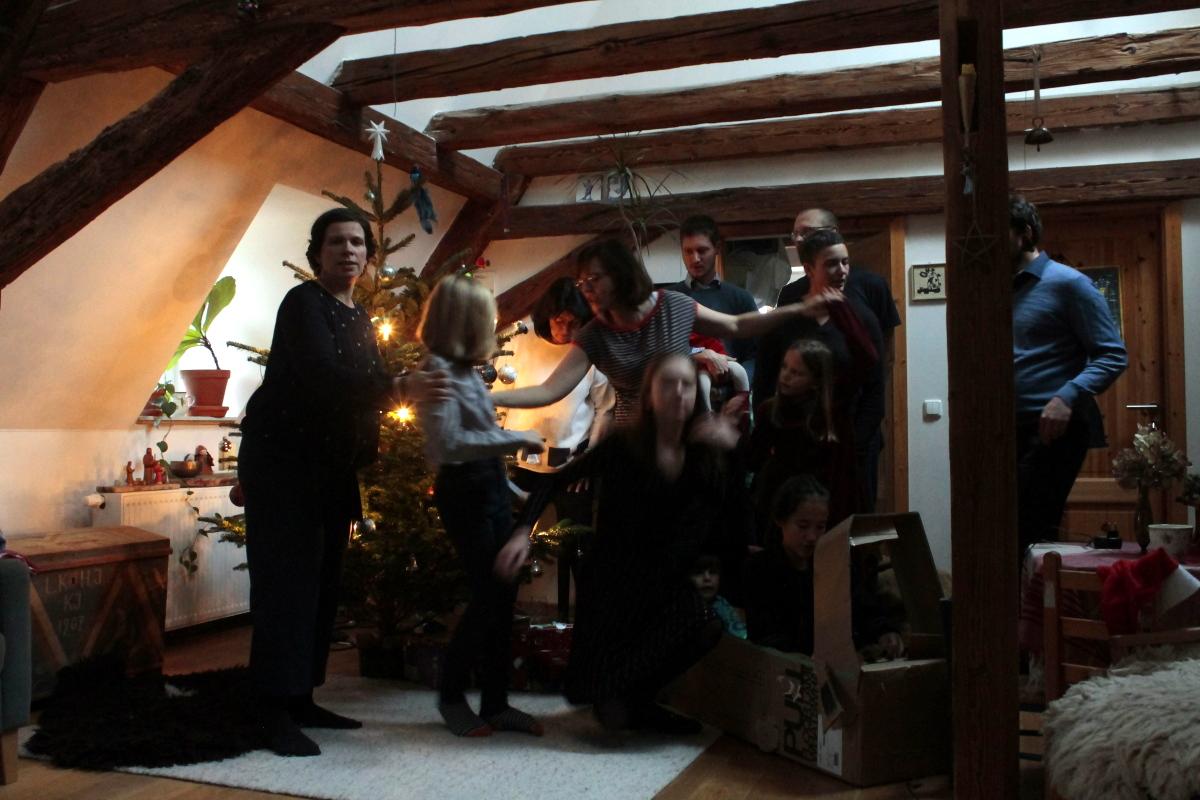 Vorbereitung zum Weihnachtsfoto